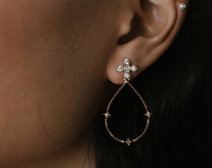 Ptolemaios earrings - celestial crystal earrings - 18k gold plated dangle earrings - crystal earrings bridal