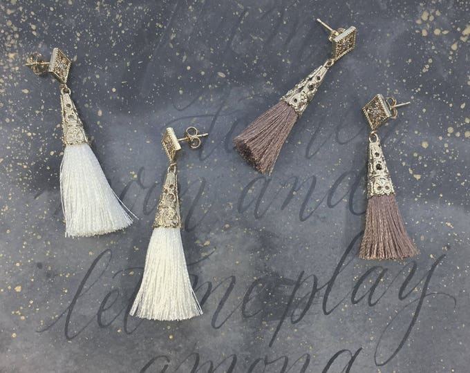 Ether earrings - dusty pink tassel dangle star earrings - gold plated 18k celestial crystal earrings