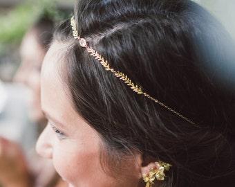 Otero Headpiece - 18k leaves w/ blush pink rhinestone hair chain - bridal halo MADE TO MEASURE - delicate hairvine - boho wreath reign tudor
