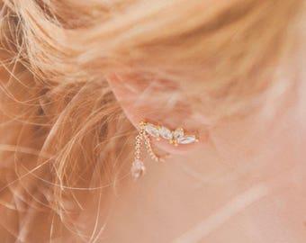 Sybil ear climbers - Art nouveau ear cuffs - Rose gold plated and vermeil 18k - rhinestone 20s  earrings