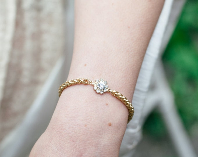 Zellige Bracelet - gold plated 18k swarovski cristal snake chain -  bridal dainty bangle - boho bracelet art nouveau - wedding jewelry