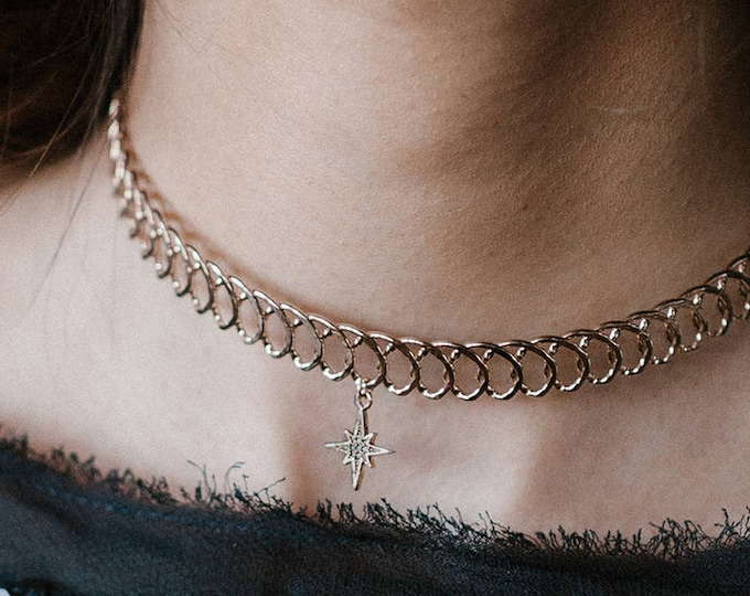 Phaeton choker - celestial tattoo necklace-  constellation jewelry gold plated 18k - star choker- bridal necklace - cosmos trend