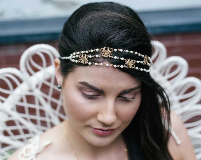 Majorelle Headpiece - Bridal pearl headband - bird of paradise hair chain art nouveau - victorian reign tiara - MADE to MEASURE