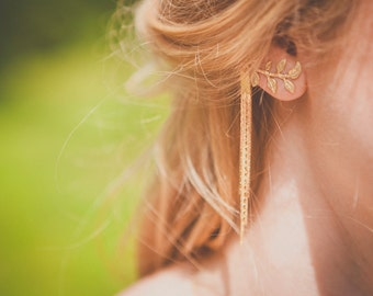 Padmâvatî ear cuffs - Art nouveau earrings  gold plated and vermeil 18k ear pieces - tudor oriental 20s ear ornament - adjusted on order