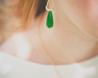 Merode earrings - Nephrite jade - gold plated 18k gold filled 14k ear ornaments - rhinestone oriental 20s