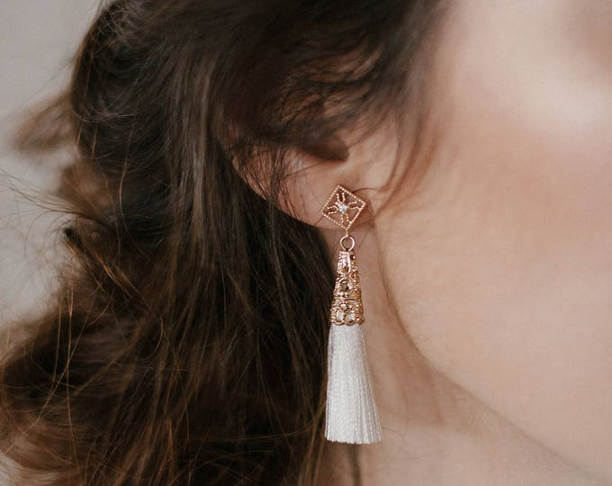 Ether earrings - White tassel star earrings - cotton thread earrings- gold plated 18k celestial crystal earrings
