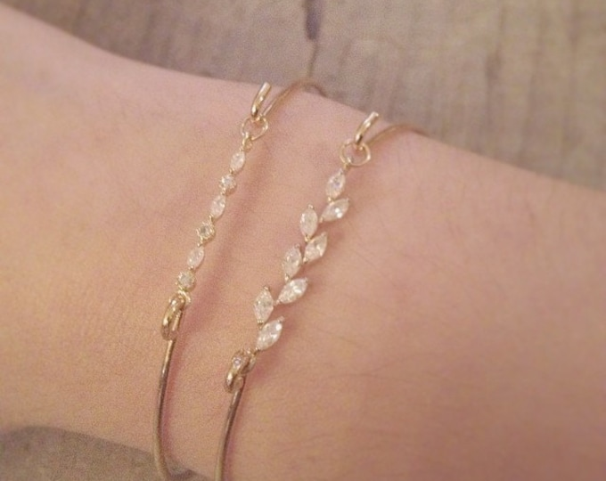 Leonide Bracelet - gold filled 14k vermeil swarovski cuff - downton abbey bridal  dainty bangle - art nouveau - 20s 1920s - MADE TO MEASURE