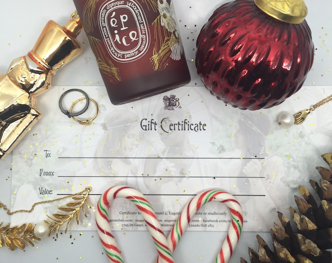 gift certificate - PRINTED VERSION - holiday gift cart - christmas gift certificate Eugenie Bee jewelry gold plated 18k - victorian heirloom