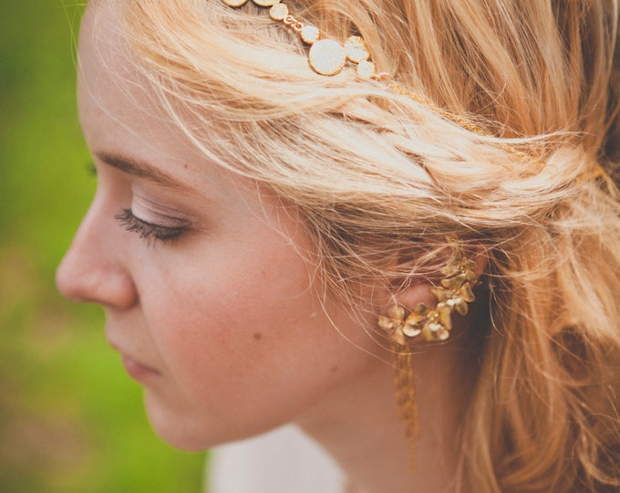 Cassiope Headpiece - Gold plated 18k chain bridal headband - art nouveau 20s gatsby boho crown tudor victorian reign tiara - MADE TO MEASURE