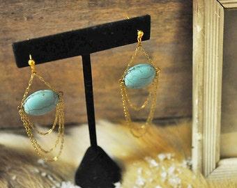 Salammbô earrings Something blue bridal dangle chandelier earrings - 14K gold filled natural turquoise - art nouveau - reign gatsby 20s