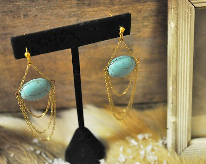Salammbô earrings Something blue bridal dangle chandelier earrings - 14K gold filled natural turquoise - art nouveau - reign gatsby 20s