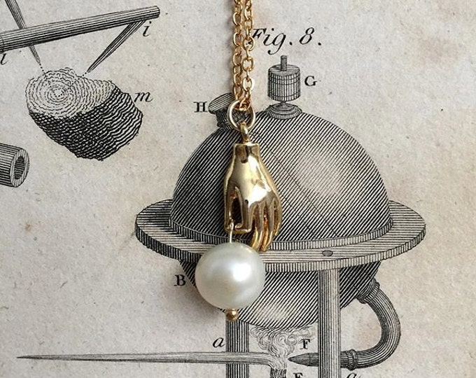 Thayer Necklace - mystical palmistry hand long necklace - gold plated 18k - freshwater pearl victorian heirloom bridal jewelry bohemian