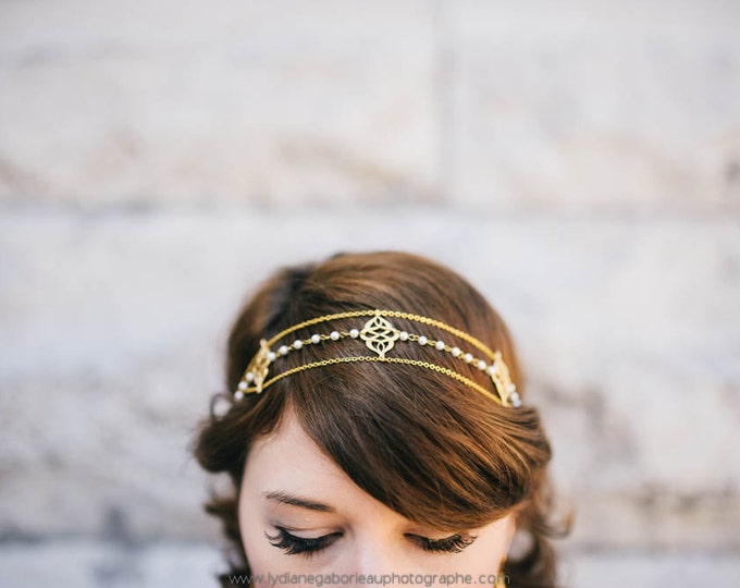 Roma Headpiece - Bridal headband gold plated 18k - art nouveau head piece - gatsby 20s crown - tudor medieval reign tiara - MADE TO MEASURE