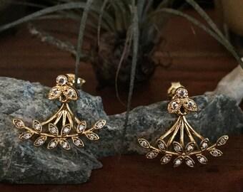 Nabulione ear jackets - bee earrings - 3 parts earrings -18k gold plated ear cuff - rhinestone 20s bridal earrings - reign