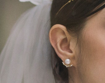 Pavlova ear jacket - 3 parts freshwater pearls earrings AAA - Vermeil 18k and gold plated ear cuff art deco crystal bridal reign
