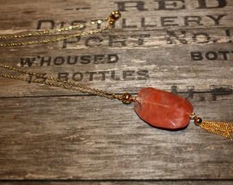 Apollonie long necklace - 18k gold plated and Red quartz tassle - art nouveau great gatsby flapper bridal 20s