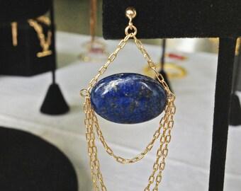 Salammbô bridal dangle earrings - 14K gold filled Lapis Lazuli - Something blue art nouveau - victorian renaissance chandelier - gatsby 20s