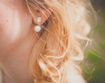 Castiglione earrings - double pearls ear jacket - gold plated and vermeil 18k ear pieces - rhinestone oriental 20s ear ornament