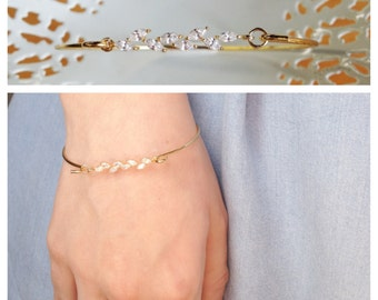 Ida Bracelet - gold filled 14k vermeil swarovski - downton abbey bridal  dainty bangle - art nouveau - 20s 1920s - MADE TO MEASURE