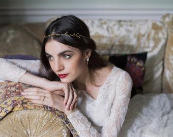 Broceliandre Headpiece - hair vine  Gold plated18k hair chain leaf bridal halo - MADE TO MEASURE  boho wreath 20s twig jewelry bridal tiara