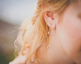 Calixte ear climbers - quartz version Art nouveau earrings - gold plated 18k swarovski pink quartz ear cuff - rhinestone  20s ear crawlers