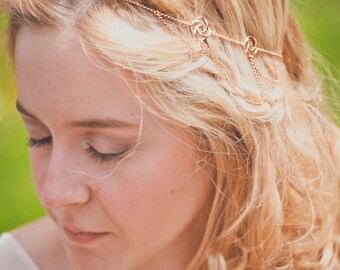 Opera Headpiece - Rose Gold plated 18k chain bridal headband - art nouveau crown 20s gatsby flapper victorian reign tiara - MADE TO MEASURE