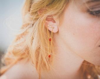 Calixte ear climbers - Art nouveau ear cuffs - gold plated 18k swarovski and ruby pair of ear crawlers - rhinestone oriental 20s earring