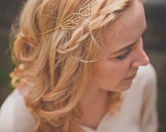 Orphee Headpiece - Gold plated 18k hair chain- bridal headband - MADE TO MEASURE  art nouveau 20s 1920s gatsby boho downton abbey woodland