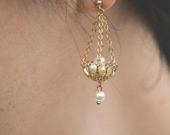 NEW Crinoline freshwater pearls gold filled chandelier earrings - 20s romantic victorian art nouveau filigree bridal dangle earrings