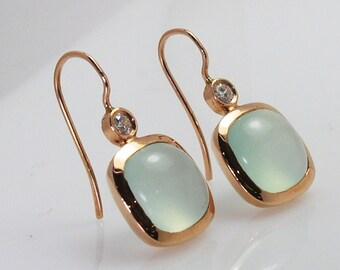 Blue Chalcedony earrings .