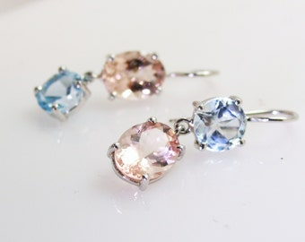 Aquamarine/morganite earrings