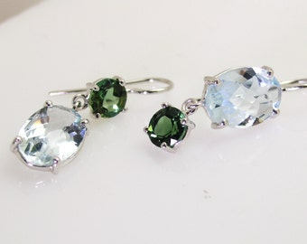 Aquamarine/green tourmaline earrings.