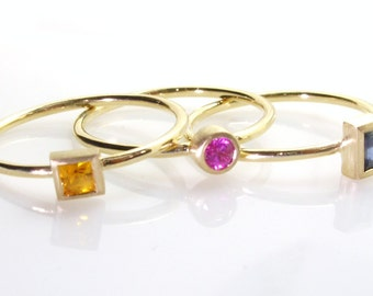 Sapphire stack able rings.