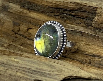 Flashy Gold Labradorite Sterling Silver Ring Sz. 7