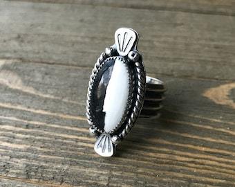 Yin Yang White Buffalo Turquoise Sterling Silver Ring - Sz. 7.5