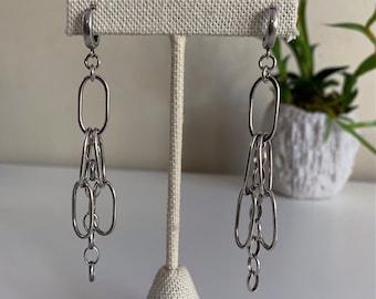 Sterling Silver Dangling Chain Earrings