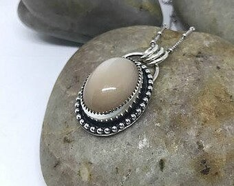 Peaches and Cream - Gorgeous Cats-eye Peach Moonstone Sterling Silver Necklace