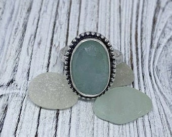 Faceted Aquamarine Sterling Silver Ring - Size 7