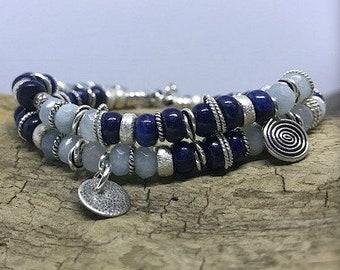 Serene Blues - Sterling Silver, Aquamarine and Lapis Double Wrap Bracelet