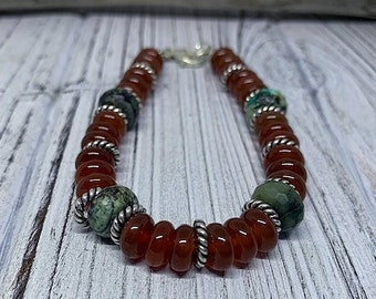 Smooth Carnelian and Faceted Turquoise Sterling Silver Beaded Bracelet