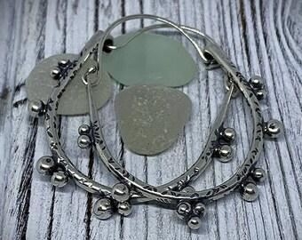 Shiny Pebbles - Sterling Silver Hoop Earrings