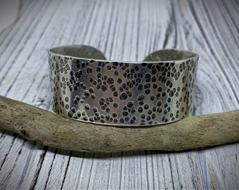 Large and Heavy Hammered Sterling Silver Cuff