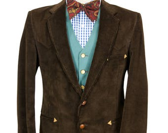 Preppy Western Style 38R Brown Corduroy Sport Coat