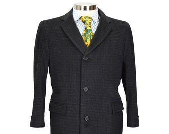 Preppy 40 Extra Short Charcoal Gentry Wool Overcoat