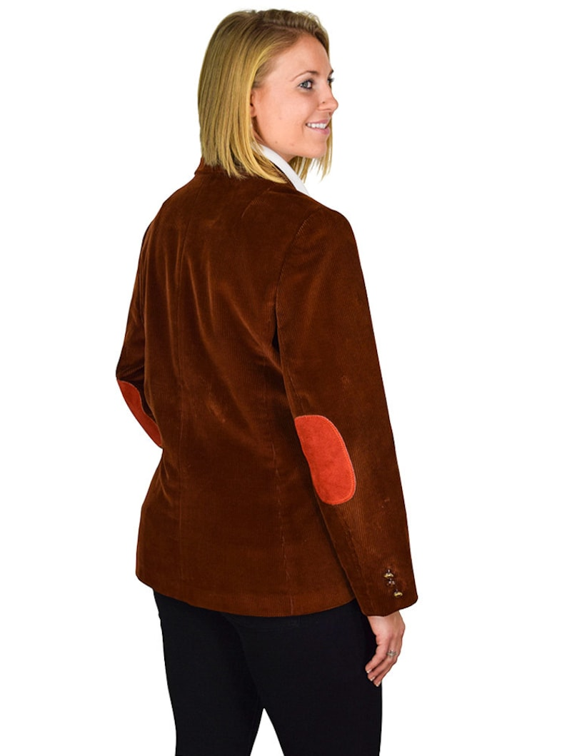 Preppy Size 12 Three Button Brown Corduroy Patch Pocket Blazer With Custom Sewn Genuine Suede Burnt-Orange Elbow Patches
