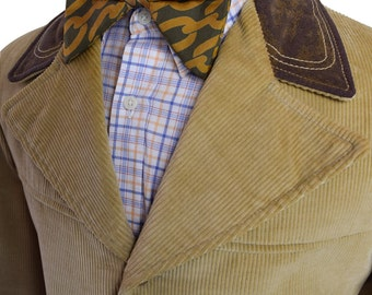 36L / 36 Long Brown and Tan with Brown Accents Men's Corduroy Coat with Four Front Buttons and Full Inner Lining hwiahUlD