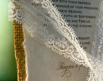 D-I-Y Simple Rustic Burlap Wedding Invitation Rustic Barn | Etsy