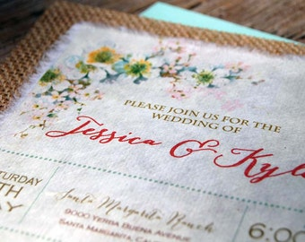 NEW- D-I-Y Vintage Flowers with Mint Accents Rustic Burlap Wedding Invitation