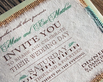 NEW- D-I-Y Modern Type Playbill Wedding Invitation With Emerald Chevron Ribbon- Rustic Burlap Wedding Invitation