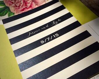 NEW! Vintage Botanical Peonies Wedding Invitation with Black and White Stripes - Mint Wedding Invitation